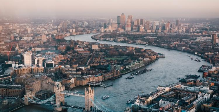 Aerial view of river thames and buildings