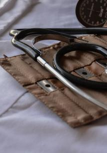 A stethoscope and blood pressure equipment